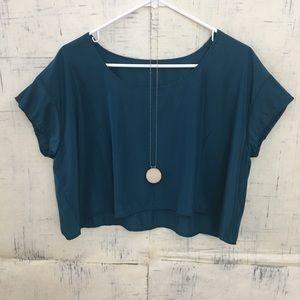 American Apparel Silky Short Sleeve Crop Top